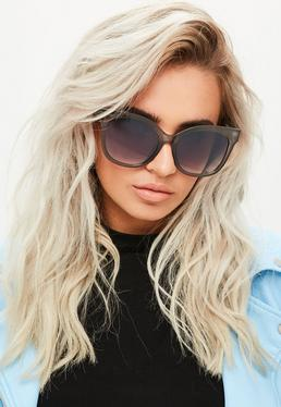 Graue Oversize Sonnenbrille