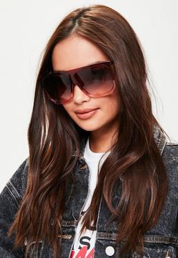 Gafas de sol con barra plana en rojo