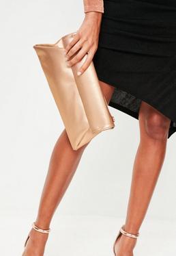 Rose Gold Roll Top Clutch Bag