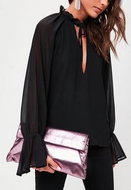 Pink Metallic Roll Top Clutch Bag