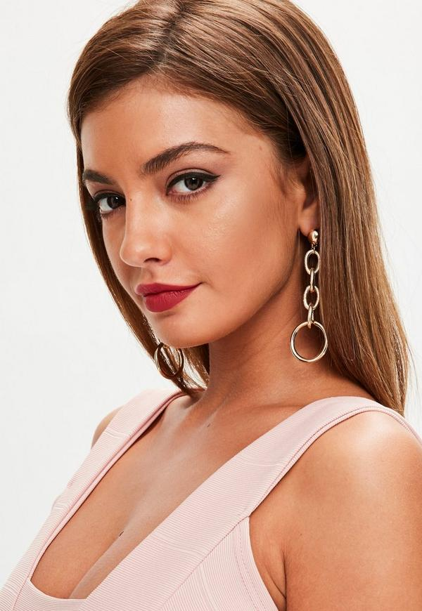 Gold Ball and Chain Earrings