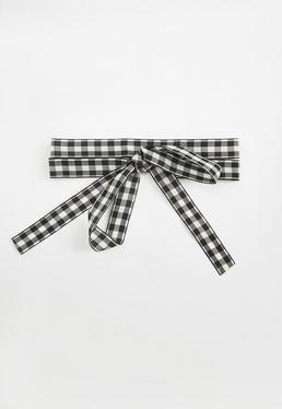 Black Gingham Tie Ribbon Choker Necklace