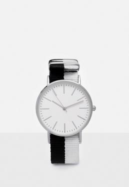 Reloj de pulsera con correa bicolor en negro