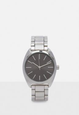 Reloj de pulsera con correa de aleación en plateado