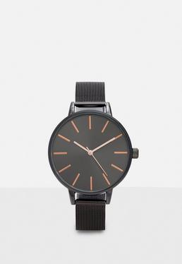 Black Analogue Mesh Strap Watch