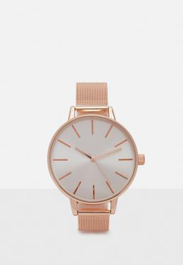 Rose Gold Analogue Mesh Strap Watch