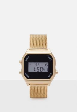 Gold Digital Mesh Bracelet Watch