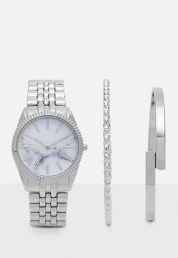 Zestaw zegarek + bransoletki w kolorze srebra