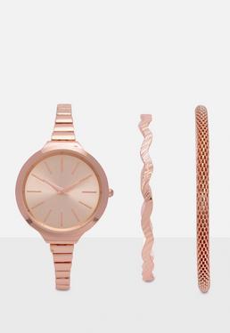 Zestaw zegarek + bransoletki w kolorze różowego złota