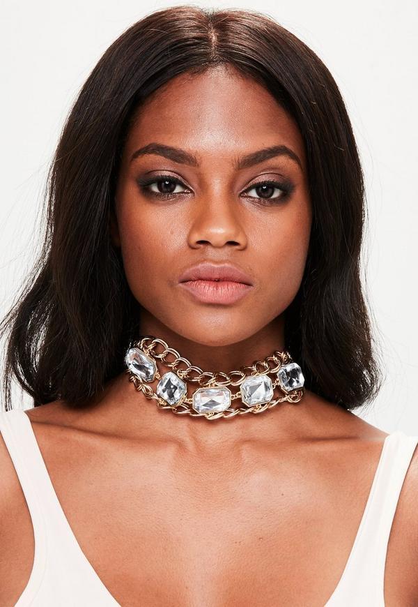 Gold Chain Gemstone Choker Necklace