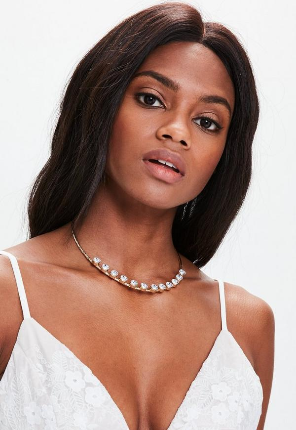 Silver Diamante Detail Choker Necklace