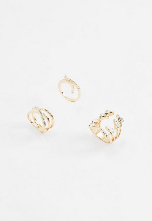 Gold Diamante Rings Pack of 3