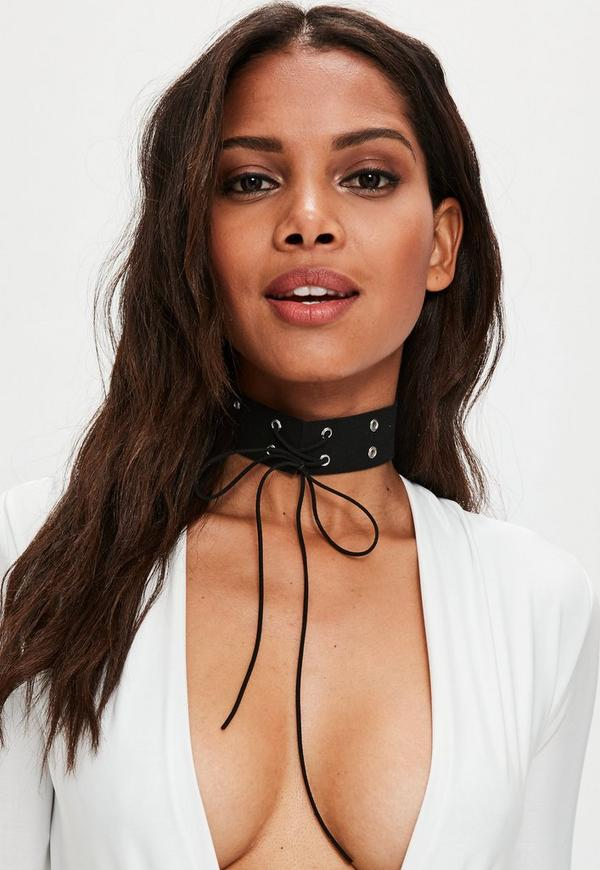 Black Eyelet Choker Necklace