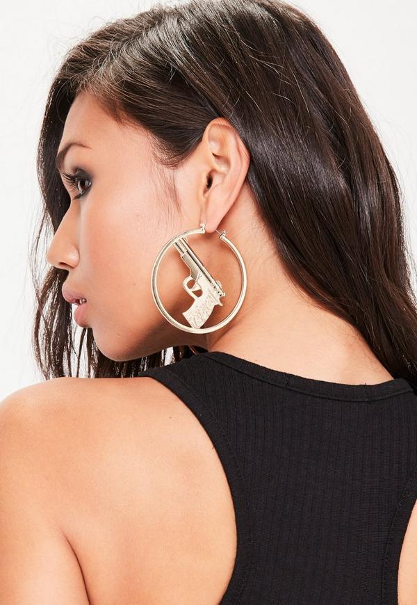 Gold Hoop Gun Earrings