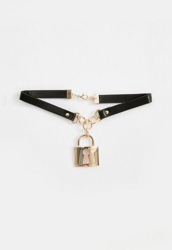 collier ras du cou noir pendentif cadenas missguided. Black Bedroom Furniture Sets. Home Design Ideas