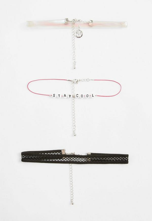 Black Peace and Fishnet Stay Cool Pack of Chokers