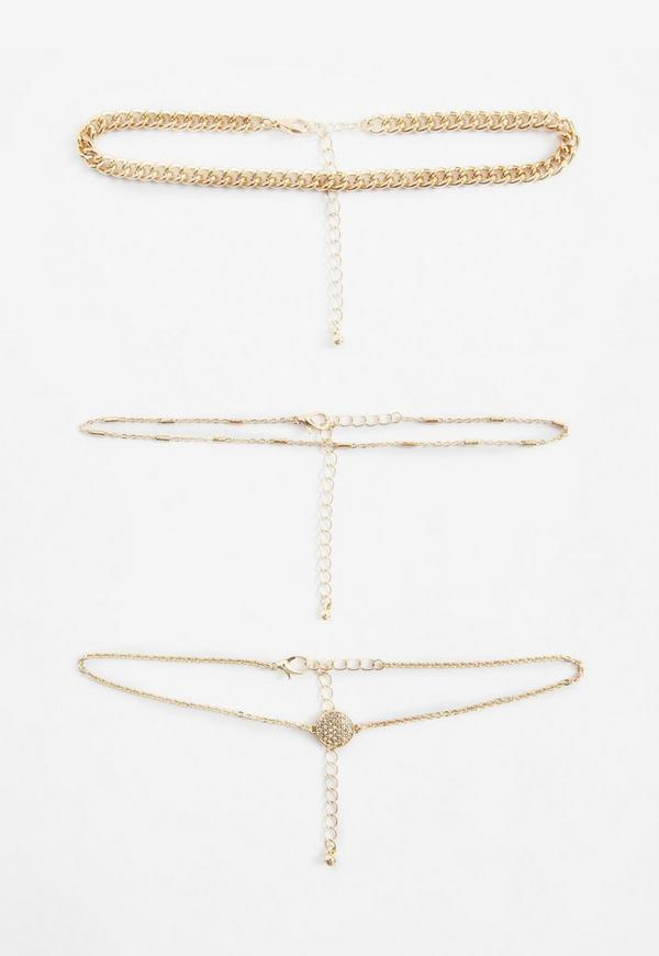 Gold Choker Necklace Pack