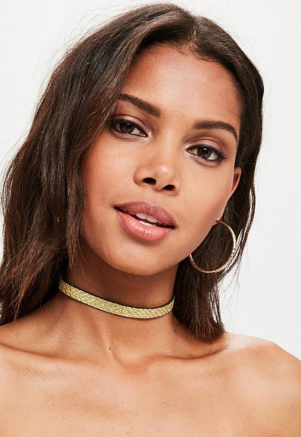 Gold Cracked Glitter Choker Necklace