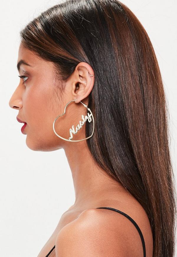 Gold Heart Nasty Earrings