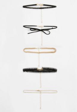 Black 4 Pack Choker Necklace Set