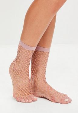 Pink Fishnet Ankle Socks