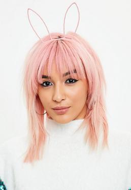 Różowa opaska uszy królika