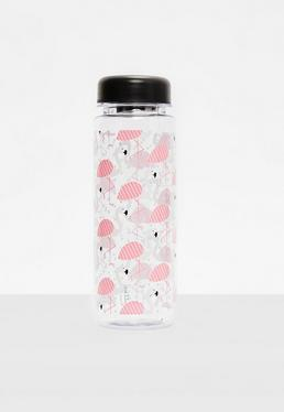 Clear Tropical Flamingo Water Bottle