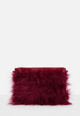 Red Feather Clutch Bag