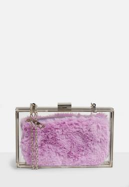Clear Purple Faux Fur Purse Clutch Bag