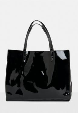 Black Vinyl Tote Bag