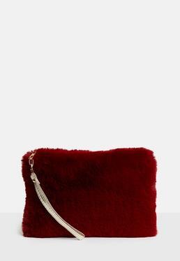 Red Faux Fur Zip Top Clutch Bag