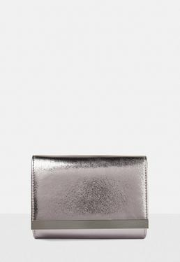 Gray Metallic Clutch Bag