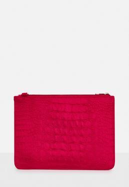Red Velvet Embossed Clutch Bag