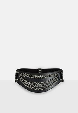 Black Layered Chain Waist Belt
