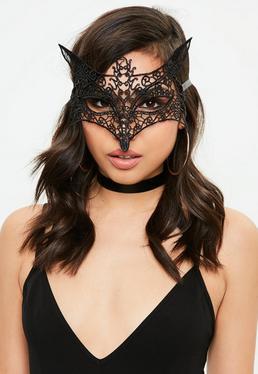 Black Fox Lace Mask