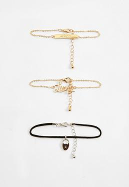 Armband-Set mit Lucky Love Anhängern in Gold