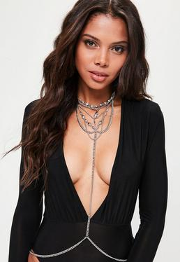 Silver Diamante Bodychain