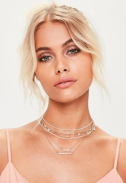 Silver Diamante Chain Drop Choker Necklace