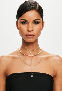 Peace + Love Gold Chain Choker Necklace