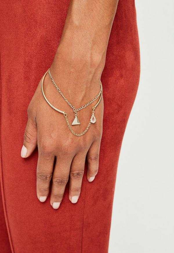 Peace + Love Gold Double Layer Bangle by Missguided