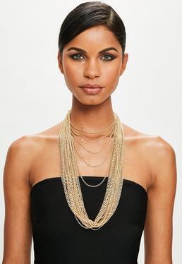 Peace + Love Collar de múltiples cadenas en dorado