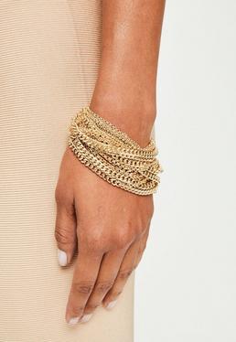 Peace + Love Bransoletka z łańcuszków w kolorze złotym