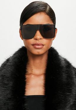 Peace + Love Czarne szerokie okulary przeciwsłoneczne
