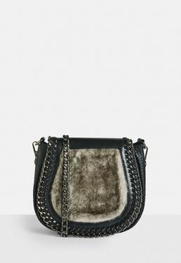 Black Faux fur Detail Saddle Bag