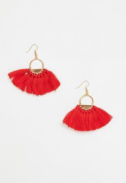 Pendientes de aro con borlas en rojo