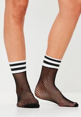 Black Sports Band Fishnet Socks