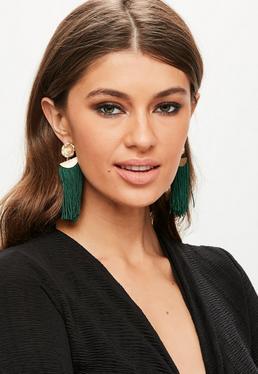 Green Flower Pendant Tassel Earrings