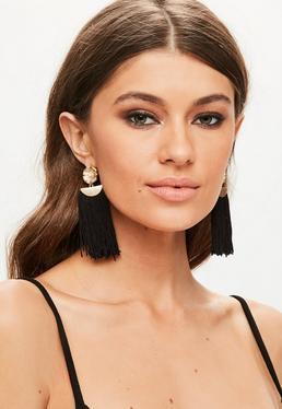 Black Flower Pendant Tassel Earrings