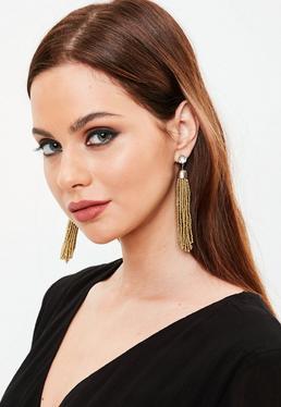 Gold Diamonte Beaded Tassel Earrings