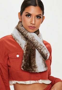 Ciemnobrązowy futrzany szalik